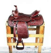 "16"" STUNNING SILVER LACED WESTERN HORSE RODEO BARREL TRAIL LEATHER SHOW SADDLE"