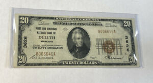 1929 $20 National Currency Note First And American National Bank of DULUTH, MN