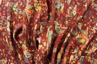 "Vintage Japanese Kimono Silk Fabric 40"" Azuki Crepe Garden  Quilting,Panel"