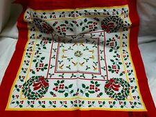 "Vintage Christmas Cotton Bandana Paris Holly & Candles 20.5 x 22"""