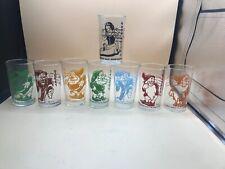 vintage SNOW WHITE And The Seven Dwarfs GLASSES Set Of 8 Disney