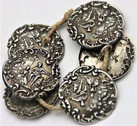 Levi & Salamann 6 Knöpfe 925er Sterling Silber Jugendstil Knopf England 1902