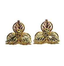 10k yellow rose green gold leaf womens earrings 2.4g vintage antique ladies