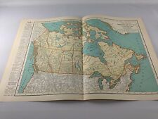 Vintage 1934 Rand McNally Map of Canada and Newfoundland ~  Color ~ Ships Free!