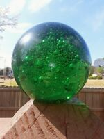 Large Hand Blown Glass Green Sphere Paperweight with Bubbles and Minor Base Wear