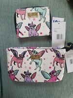Betsey Johnson Set Of Unicorn Pug Wristlet And Matching Zip Around Wallet