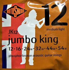 Rotosound Acoustic Guitar Phosphor Bronze Jumbo King Strings JK12 12 Gauge