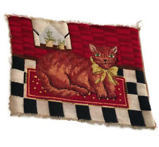 Vintage Needlepoint Cat Black Red Finished Piece Raw Edges