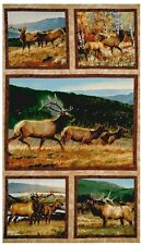 5 BEAUTIFUL WILDLIFE PANELS ELK IN FIELD FOR QUILTS HOME DECOR CRAFTS PROJECT #2