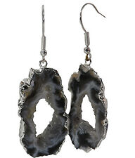 AGATE GEODE JEWELRY EARRINGS, Natural Stone Slice Dangle w/Druzy Crystals Silver