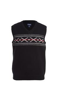 Chaps Boys Knit Sweater Vest Holiday Black Argyle XXS (4/5) Cotton NWT AA6