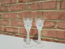 2 House of Faberge Star of the North Crystal Champagne Flute Goblets Glasses