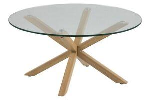 STRIKING MODERN ELEGANT SCANDI ROUND GLASS OAK LOOK  COFFEE TABLE HEAVEN ACTONA