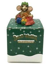 David Winter Cottages Stocking Mouse Christmas Ornament Signed With Original Box