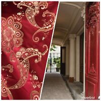Designer Brocade Satin Fabric- Antique I spited Red and Gold - Upholstery
