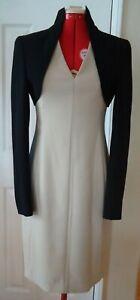 Akris 2 Piece Beige Wool Silk Lined Dress Black Bolero Long Sleeve Jacket-Size 4