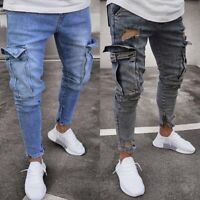 Men's Ripped Skinny Jeans Destroyed Frayed Slim Fit Denim Cargo Pants Trousers