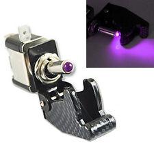 12V 20A Car Carbon Fiber Purple LED Toggle Switch Light Racing SPST Sales