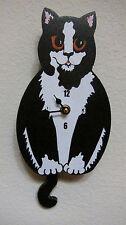 Wagging Tail Cat  Wall Clock for Cat Kitten Lovers B/W Tuxedo Cat Closeout