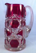 Big Button Water Pitcher Ruby Stain Early American Pattern Glass Block & Star