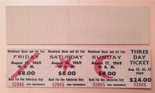 Repro CONCERT TICKET : WOODSTOCK Music Festival & Art Fair 15/16/17 AUGUST 1969