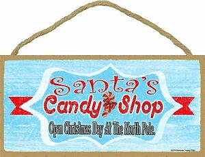 """Retro Style Santa's Candy Shop Christmas Holiday Sign Plaque 5""""x10"""""""