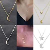 Moon Star Necklace Plain Thin Delicate Chain Charm Simple Dainty SILVER GOLD New
