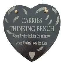 Personalised Laser Engraved Slate Thinking Bench Keepsake, Memorial Plaque