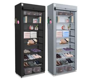 10 Tier Canvas SHOERACK CABINET Storage Organiser Stand Shelf 27 Pairs Dustproof