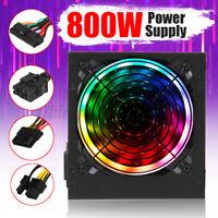 800W ATX 12V PC Computer Desktop Power Supply 24pin PCI SATA LED Fan Gaming