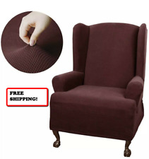 NEW Maytex Smart Cover Wing Chair Slipcover Stretch BURGANDY/MAROON