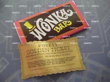 Willy Wonka & Chocolate Factory Replica Wonka Bar and Golden Ticket /Gene Wilder