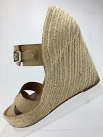 Hunter Anegada Wedges Shoes - Cream Leather Casual Heels Dress Women's Size 7.5