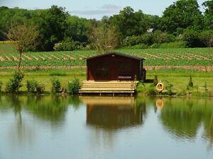 secluded log cabins  carp fishing  lake,  short break holiday glamping