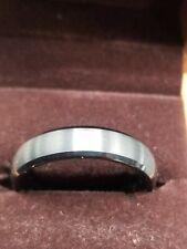 Haosg Tungsten Band - 8mm - 12 Brushed Silvertone With Black Rim