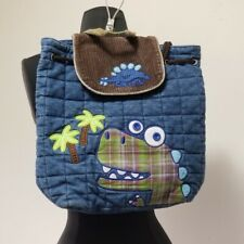 Kids Stephen Joseph Quilted Dinosaur Backpack Blue Green Brown Corduroy Flap