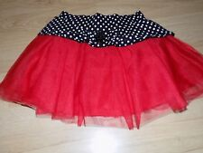 Size 6 Disney Minnie Mouse Red Tulle Skirt Black White Polka Dot Waist GUC