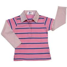 Girls Layered-Look Shirt with Collar Pink with Blue Stripe # 4 Size 8 y/o
