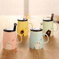 Cute Cat Glass Mug Cup Tea Cup Milk Coffee Cup Ceramics Office Gift+Spoon+Lid