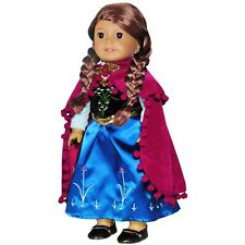 Doll Clothes Princess Anna Dress Outfit Fits American Girl & Other 18