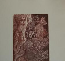 LADY and 5 CAT - Bookplate Etching HANA CAPOVA *1956 Cz.Re-22/80signed