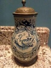 Antique FAIENCE Pewter Stein Nurnberg Circa 1720-1740 18th Century Delft Style