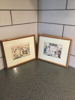 Lot Of 2 Original ANTIQUE JAPANESE TORII KIYONAGA ORIGINAL WOODBLOCK Prints