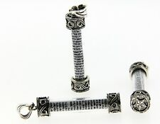 Glass mezuzah pendant / charm with Shema prayer in sterling silver