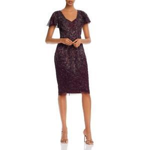 Adrianna Papell Womens Purple Beaded V-Neck Cocktail Dress 14 BHFO 3438