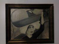 ORIENTALIST ART WOMAN IN VILLAGE DOING CHORES