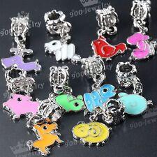 10x Mixed Color Enamel Animal Dangle European Charms Beads Fit Bracelet Chain