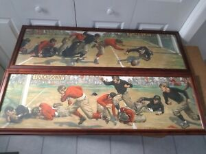 J.D. Whiting Antique Football Sports Lithographs Touchdown Fumble Lot lithograph