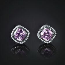 HUCHE Lovely Pink Diamond Gemstone White Gold Filled Classic Studs Lady Earrings