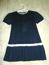 New Florence Eiseman Soft Navy/White Pleated Sweater Dress w/Bows - Size 24 mo.